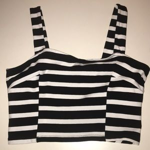 Express striped black and white crop top size M